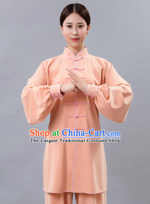 Traditional Chinese Martial Arts Orange Costume Tai Ji Kung Fu Competition Clothing for Women