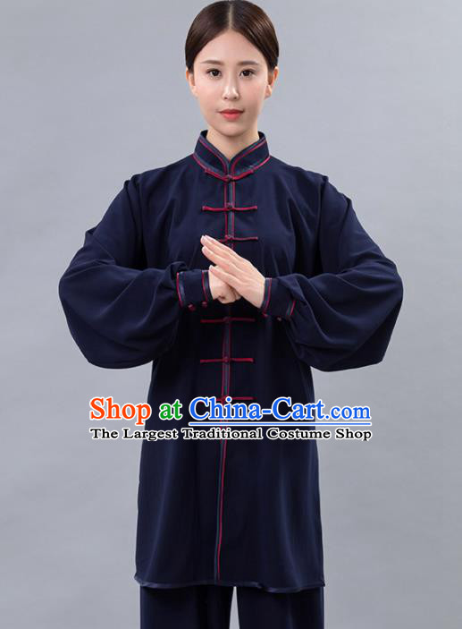 Traditional Chinese Martial Arts Navy Costume Tai Ji Kung Fu Competition Clothing for Women