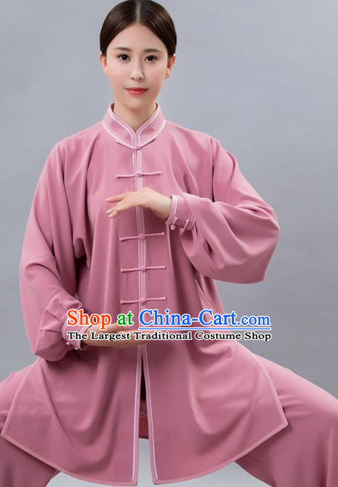 Traditional Chinese Martial Arts Pink Costume Tai Ji Kung Fu Competition Clothing for Women