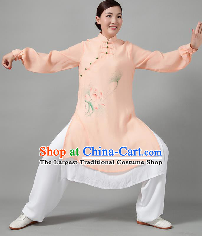 Traditional Chinese Martial Arts Printing Lotus Orange Costume Tai Ji Kung Fu Competition Clothing for Women