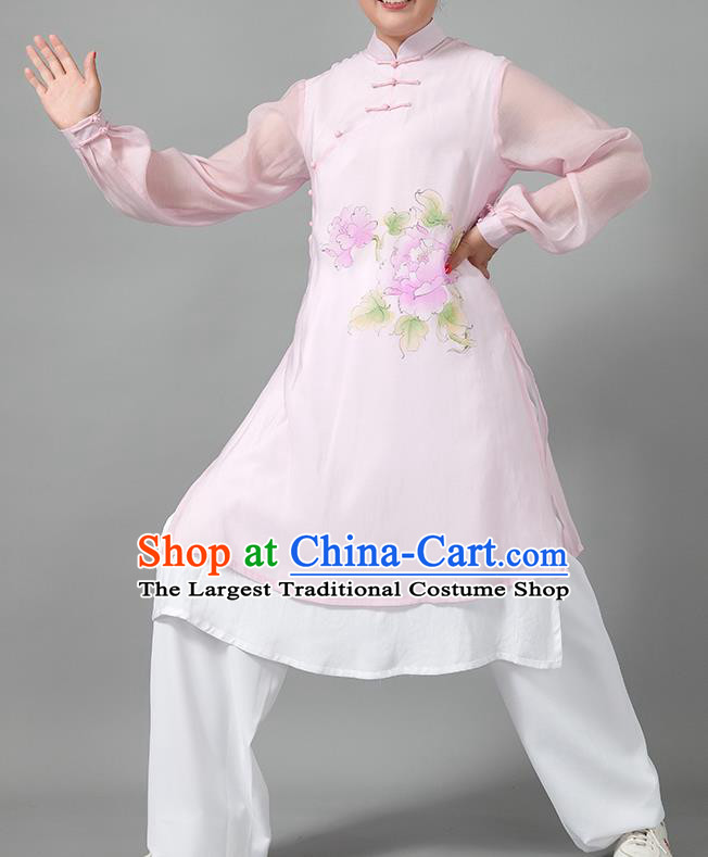 Traditional Chinese Martial Arts Printing Peony Pink Costume Tai Ji Kung Fu Competition Clothing for Women