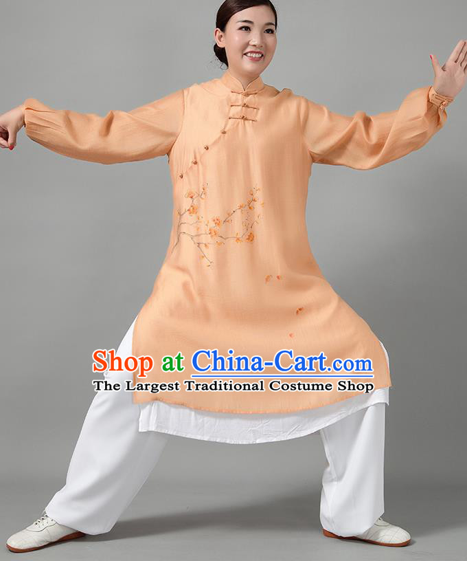 Traditional Chinese Martial Arts Printing Plum Blossom Orange Costume Tai Ji Kung Fu Competition Clothing for Women