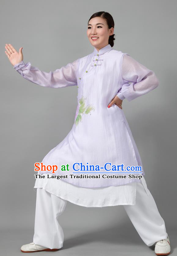 Traditional Chinese Martial Arts Printing Peony Purple Costume Tai Ji Kung Fu Competition Clothing for Women