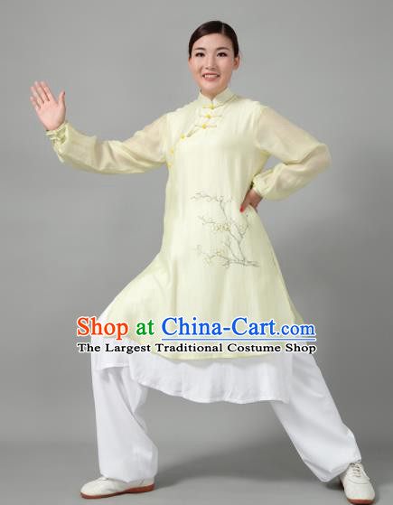 Traditional Chinese Martial Arts Printing Plum Blossom Green Costume Tai Ji Kung Fu Competition Clothing for Women