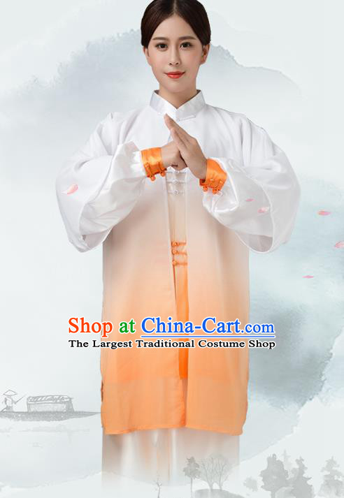 Traditional Chinese Martial Arts Orange Silk Costume Tai Ji Kung Fu Competition Clothing for Women
