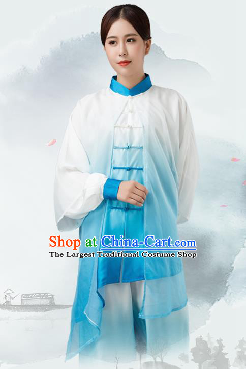 Traditional Chinese Martial Arts Blue Silk Costume Tai Ji Kung Fu Competition Clothing for Women