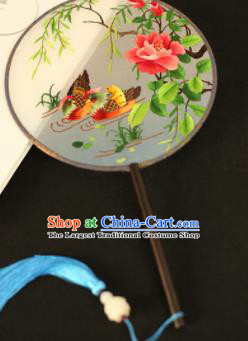 Chinese Traditional Embroidered Mandarin Duck Round Fans Classical Hanfu Palace Fans for Women