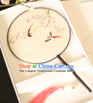 Chinese Traditional Embroidered Birds Round Fans Classical Hanfu Palace Fans for Women