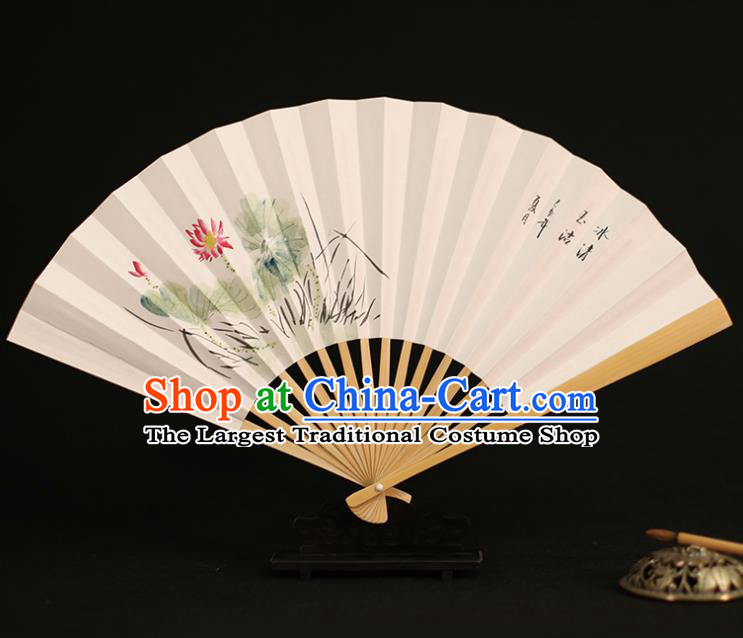 Chinese Traditional Ink Painting Lotus Paper Folding Fans Classical Accordion Handmade Fans for Women