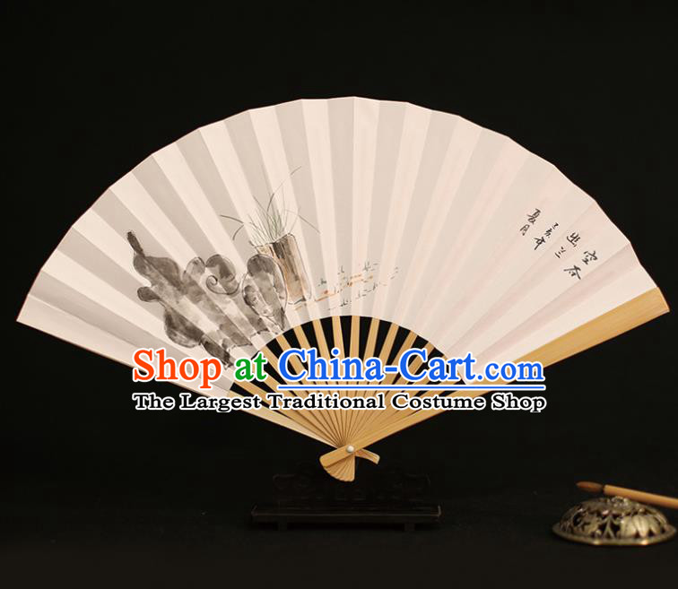 Chinese Traditional Ink Painting Orchid Paper Folding Fans Classical Accordion Handmade Fans for Women