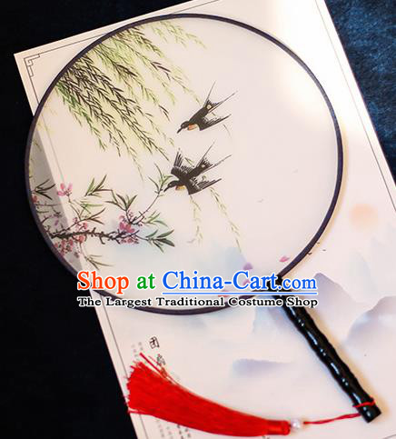 Chinese Traditional Printing Swallow Silk Round Fans Handmade Classical Palace Fans for Women