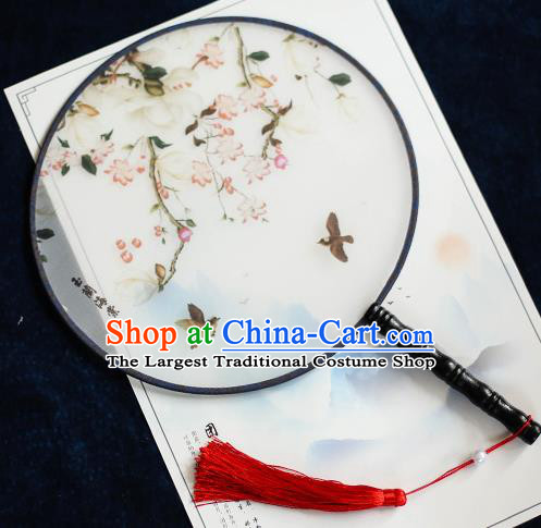 Chinese Traditional Printing Malus Spectabilis Silk Round Fans Handmade Classical Palace Fans for Women