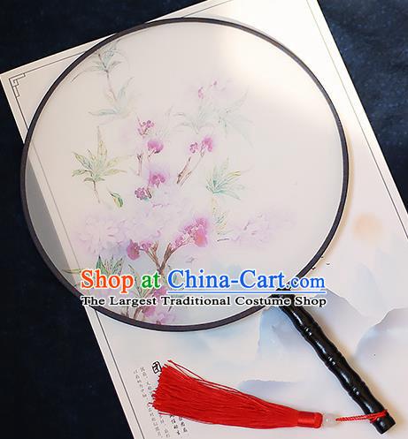 Chinese Traditional Printing Begonia Silk Round Fans Handmade Classical Palace Fans for Women