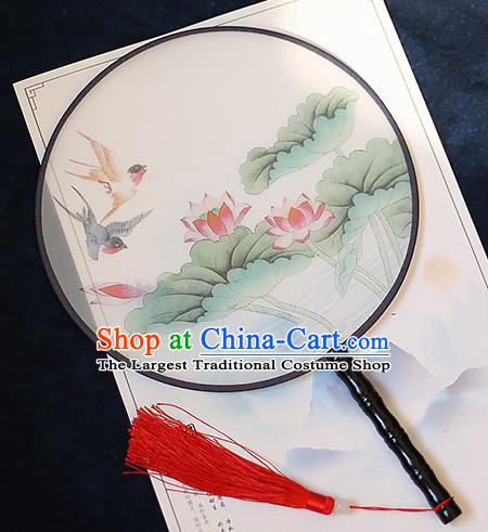Chinese Traditional Printing Swallow Lotus Silk Round Fans Handmade Classical Palace Fans for Women