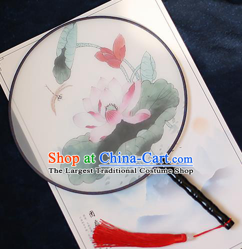 Chinese Traditional Printing Dragonfly Lotus Silk Round Fans Handmade Classical Palace Fans for Women