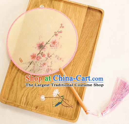 Chinese Traditional Printing Peach Blossom Dance Silk Round Fans Handmade Classical Palace Fans for Women