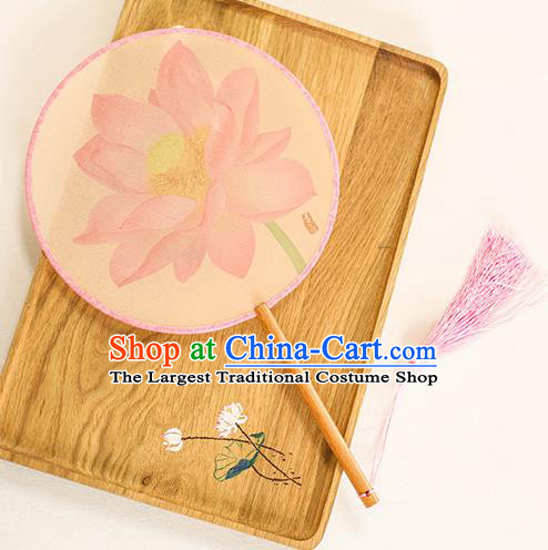 Chinese Traditional Printing Pink Lotus Dance Silk Round Fans Handmade Classical Palace Fans for Women