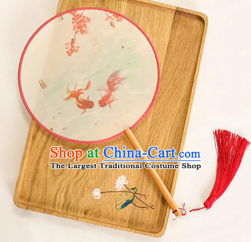 Chinese Traditional Printing Goldfish Dance Silk Round Fans Handmade Classical Palace Fans for Women