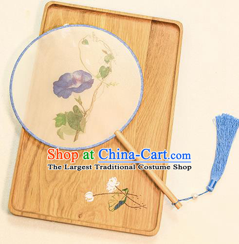 Chinese Traditional Printing Blue Petunia Dance Silk Round Fans Handmade Classical Palace Fans for Women