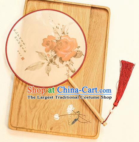 Chinese Traditional Printing Red Roses Dance Silk Round Fans Handmade Classical Palace Fans for Women