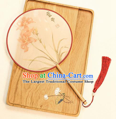 Chinese Traditional Printing Tawny Daylily Dance Silk Round Fans Handmade Classical Palace Fans for Women
