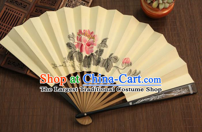 Chinese Traditional Handmade Ink Painting Peony Paper Fans Classical Accordion Folding Fans for Women