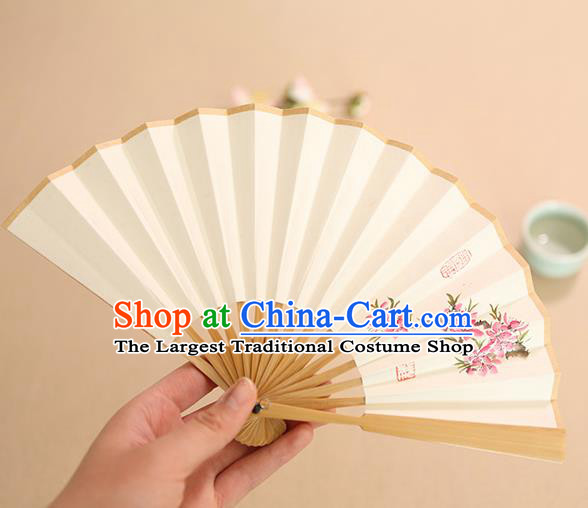 Chinese Traditional Handmade Ink Painting Peach Blossom Paper Fans Classical Accordion Folding Fans for Women