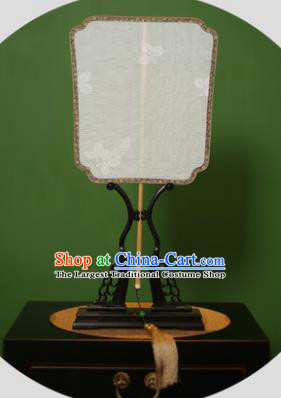 Chinese Traditional Handmade Kesi White Silk Square Fans Classical Palace Fans for Women