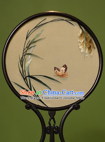 Chinese Traditional Handmade Embroidered Orchid Butterfly Silk Round Fans Classical Palace Fans for Women