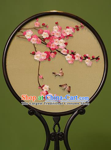 Chinese Traditional Handmade Embroidered Peach Blossom Silk Round Fans Classical Palace Fans for Women