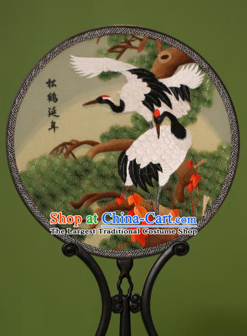 Chinese Traditional Handmade Embroidered Pine Cranes Silk Round Fans Classical Palace Fans for Women