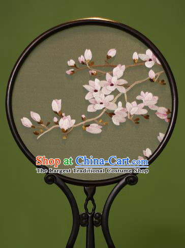 Chinese Traditional Handmade Embroidered Mangnolia Silk Round Fans Classical Palace Fans for Women
