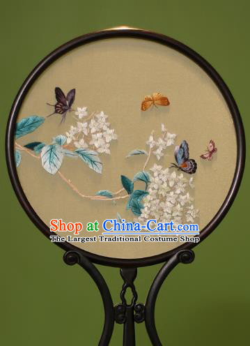 Chinese Traditional Handmade Embroidered Wisteria Silk Round Fans Classical Palace Fans for Women