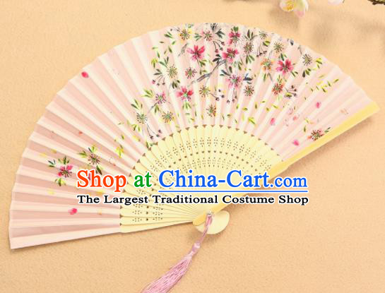 Chinese Traditional Folding Fans Classical Printing Flowers Pink Accordion Silk Fans for Women