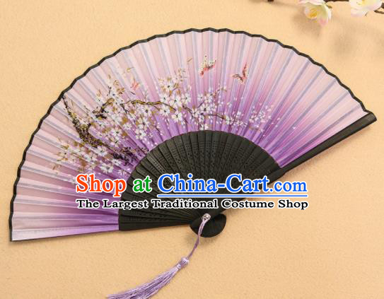 Chinese Traditional Folding Fans Classical Printing Flowers Purple Accordion Silk Fans for Women