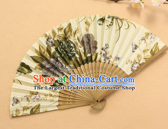 Chinese Traditional Folding Fans Classical Printing Peony Accordion Silk Fans for Women