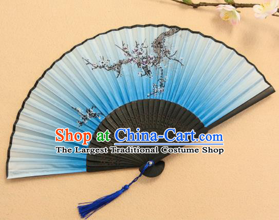 Chinese Traditional Folding Fans Classical Printing Plum Blossom Blue Accordion Silk Fans for Women