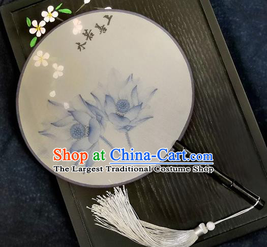 Chinese Traditional Printing Blue Lotus Silk Round Fans Classical Hanfu Palace Fans for Women