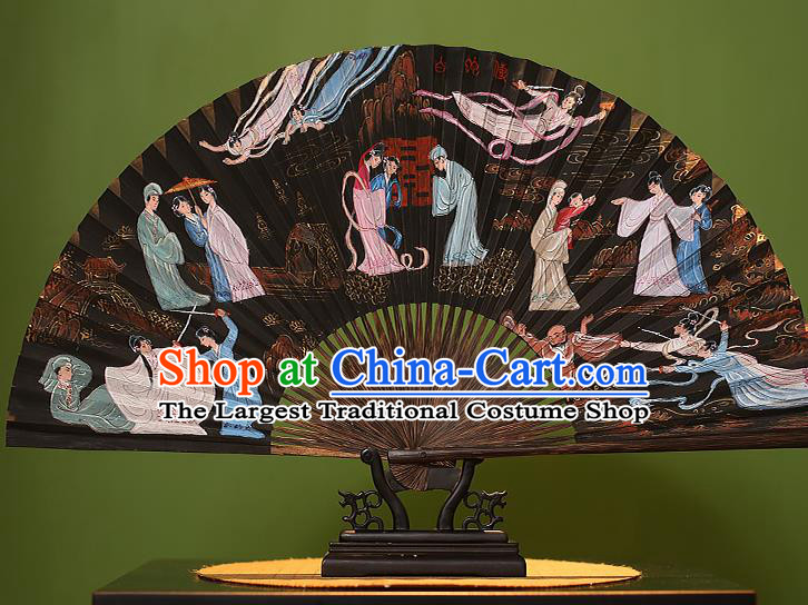Chinese Traditional Handmade Bamboo Fans Classical Printing Madam White Snake Folding Fans for Men