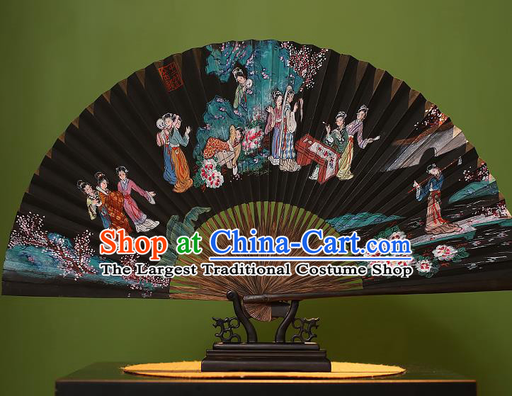 Chinese Traditional Handmade Bamboo Fans Classical Printing Beauty Folding Fans for Men