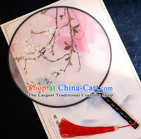 Chinese Traditional Printing Flowers Silk Round Fans Handmade Classical Palace Fans for Women