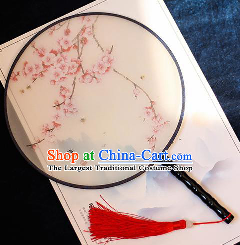 Chinese Traditional Printing Pink Plum Blossom Silk Round Fans Handmade Classical Palace Fans for Women