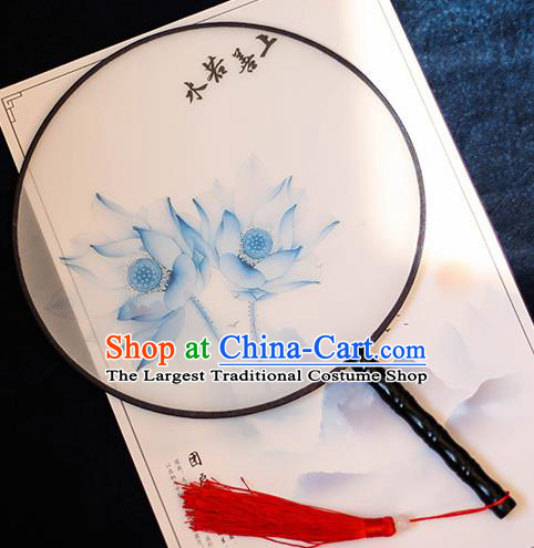 Chinese Traditional Printing Blue Lotus Silk Round Fans Handmade Classical Palace Fans for Women
