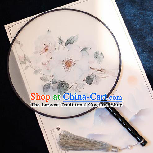 Chinese Traditional Printing White Camellia Silk Round Fans Handmade Classical Palace Fans for Women