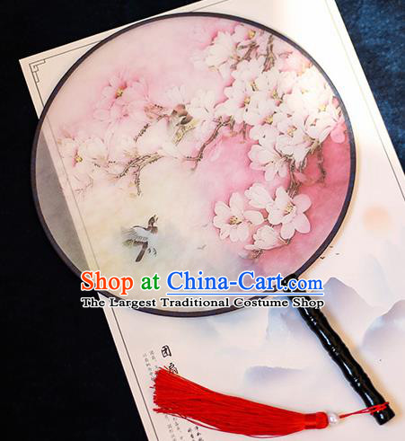 Chinese Traditional Printing Peach Blossom Silk Round Fans Handmade Classical Palace Fans for Women