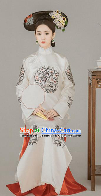 Chinese Ancient Imperial Empress Embroidered Dress Qing Dynasty Manchu Queen Historical Costume for Women
