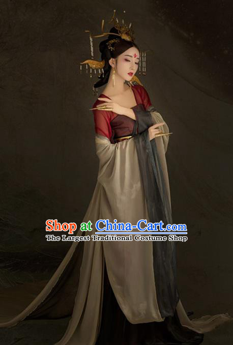 Chinese Ancient Court Queen Hanfu Dress Tang Dynasty Imperial Empress Historical Costume for Women