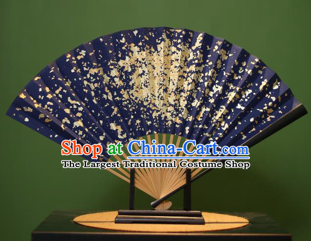 Chinese Traditional Handmade Golden Paillette Xuan Paper Fans Classical Folding Fans for Men