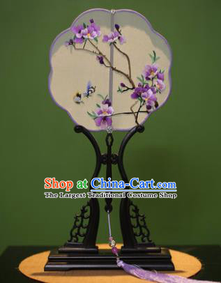 Chinese Traditional Handmade Embroidered Purple Flowers Silk Fans Classical Palace Fans for Women