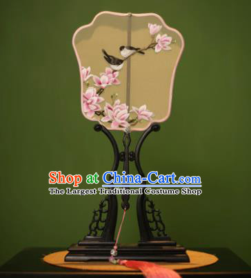 Chinese Traditional Handmade Embroidered Magnolia Flowers Silk Fans Classical Palace Fans for Women